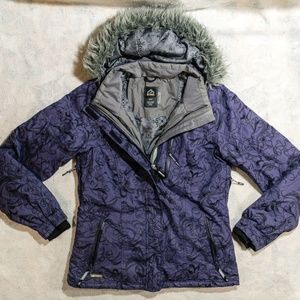 Black Mountain Hybrid Purple Floral Winter Hooded